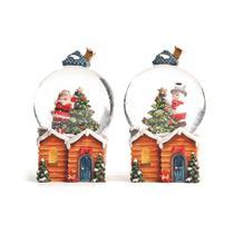 Enfeite Natal Globo de Água Papai Noel e Pinheiro No Telhado - Cromus