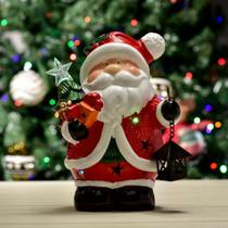 Enfeite Natalino Papai Noel de Led Vermelho 22cm - Etna