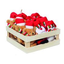 Enfeite Papai Noel Rena P/ Pendurar Árvore Natal 12 Pçs Vermelha - Cromus