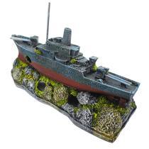 Enfeite Para Aquário Barco Destroyer - Aquária