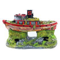 Enfeite Para Aquário Barco Diecel - Aquária