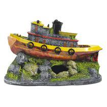 Enfeite Para Aquário Barco Diecel Pequeno - Aquária