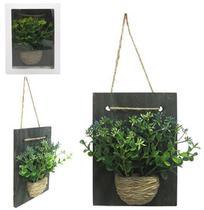 Enfeite / quadro decorativo de madeira com flor artificial + vaso de cimento 17x12cm - IMPORIENTE