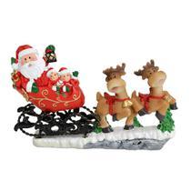 Enfeite Treno Com Papai Noel e Renas 13cm Espressione Christmas -