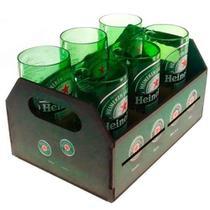 Engradado Com 6 Copos De Vidro Heinek Retrô - Outros