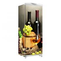 Envelopamento De Geladeira Total Vinhos Uvas Garrafas E Taças 150X60cm - Sunset Adesivos