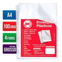 Envelope plástico A4 4 furos 020 5088A4 pct 100und Dac -