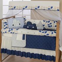 Enxoval De Bebe Kit Berço Americano Nuvem 10pçs Menino Azul - Celia Bordados