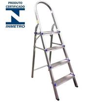 Escada 4 Degraus Alumínio Doméstica (Real) -