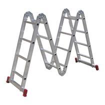 Escada Articulada Botafogo Lar&Lazer 4 x 4 em Alumínio 16 Degraus -