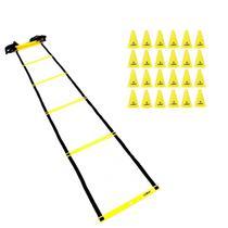 Escada de Agilidade 8 Metros + Cones 18cm Amarelo 24 Unidades - LIVEUP -