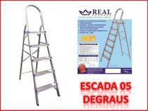 Escada domestica de alumínio 5 degraus (REAL) -