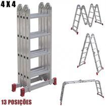 Escada Multifuncional Articulada em Aluminio 4x4 16 Degraus Ate 150 Kg  Botafogo -