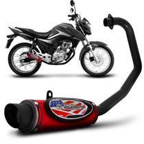 Escapamento Moto Esportivo CG Titan 160 2016 a 2017 Shutt Powerbomb Com Protetor de Perna Vermelho -