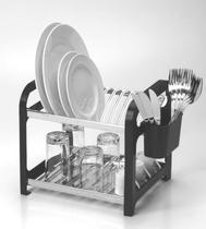 Escorredor 12 pratos Inox Preto com Porta Talheres - Soltecn