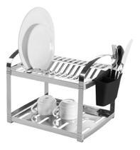 Escorredor 12 pratos suprema inox c/ suporte p/ talheres - BRINOX