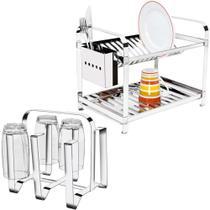 Escorredor 16 Pratos Com Porta Talheres Inox + Porta Copos Em Aço Inox Mak Inox. - Mak-Inox