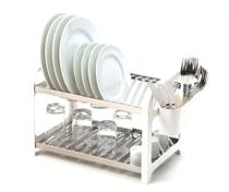 Escorredor 16 Pratos Em Aço Inox Com Lateral Em Plástico Branco. - Domum
