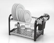 Escorredor 16 pratos Inox Preto com Porta Talheres - Soltecn
