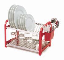 Escorredor 16 pratos Inox Vermelho com Porta Talheres - Soltecn