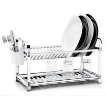 Escorredor 20 pratos inox montado com porta talheres plástico - Mak-inox -