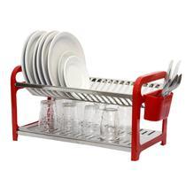Escorredor 20 pratos Inox Vermelho com Porta Talheres - Soltecn