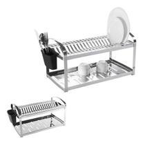 Escorredor 20 pratos suprema inox c/ suporte p/ talheres - BRINOX