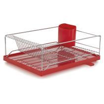 Escorredor com Bandeja 16 Pratos Dry Vermelha 30,5x40,5x15 cm Forma -