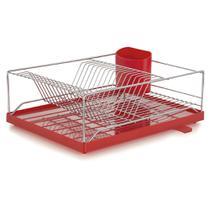 Escorredor com Bandeja 16 Pratos Dry Vermelha 31x41x15 cm Forma -