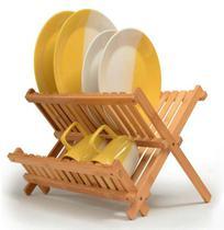 Escorredor De Bambu Cozinha Louça Dobrável Pia Bancada - Infinite