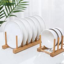 Escorredor De Bambu Multiuso Pratos Suporte Copos Cozinha - Alfa