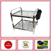 Escorredor de Louça 12 Pratos Inox com Porta Talher de Plástico - Nox Inox