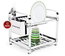 Escorredor de louça 12 pratos inox montado com porta talher inox - MAKINOX -