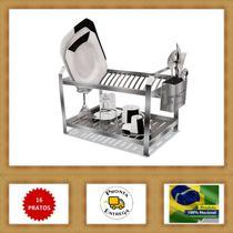 Escorredor de Louça 16 Pratos Inox com Porta Talher Inox - Nox Inox