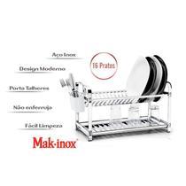 Escorredor de Louça 16 Pratos Inox com Porta Talher Plástico - Makinox -