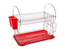Escorredor de louça 19 pratos 2 andares - vermelho - HORIZONTE