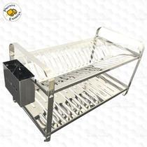 Escorredor de louça 20 pratos inox montado com porta talher inox - MAKINOX -