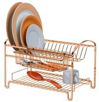 Escorredor De Louça dourado Grande Duplo 16 pratos porta talheres Rosé Gold 40 cm Marca Future -
