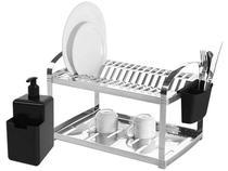 Escorredor de Louça Inox Suprema 16 Pratos Dispenser Brinox -