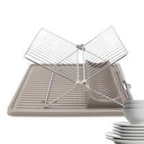 Escorredor de Louça Prato Dobrável Plástico e Inox 34,5 x 34,5 cm Economiza Espaço Cozinha Pia - Yazi