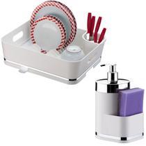 Escorredor de Louças 13 Pratos C/ Suporte Detergente Esponja - Future