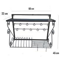 escorredor de louças paneleiro design ferro suporte de parede prateleira cozinha decoração ganchos peduradores panelas xícaras utensílios - Minas Arte Própria