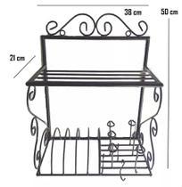 escorredor de louças paneleiro ferro suporte de parede prateleira cozinha decoração ganchos peduradores panelas xícaras utensílios - Minas Arte Própria