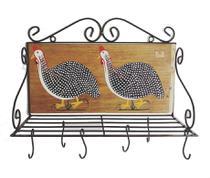 escorredor de louças paneleiro galinhas ferro e madeira suporte parede pia cozinha cecoração ganchos peduradores panelas xícaras utensílios - Minas Arte Própria