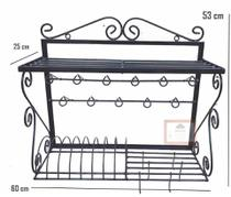 escorredor de louças paneleiro rococó ferro suporte de parede prateleira cozinha decoração ganchos peduradores panelas xícaras utensílios - Minas Arte Própria