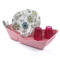 Escorredor de Louças Para 10 Pratos Pia Cozinha Plástico - Rosa -