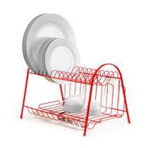 Escorredor de Louças Vermelho Duplo com Porta Copo 14 pratos - Arthi