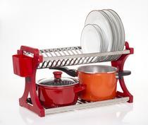 Escorredor De Pratos Alto Vermelho Inox 20 Pratos - Domum