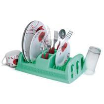 Escorredor de Pratos de Plástico Compacto Rattan Cor Verde - Nitron
