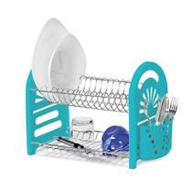 Escorredor De Pratos E Copos Com Porta Talher Duplo Azul Turquesa N3226 - Niquelart